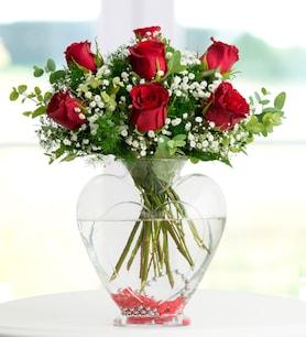 Canım Sevgilim Kalp Vazoda Kırmızı Güller