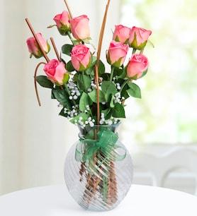 Mercan Güller Yapay Çiçek Aranjmanı