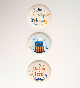 Kişiye Özel Happy Birthday Taş Magnet Seti