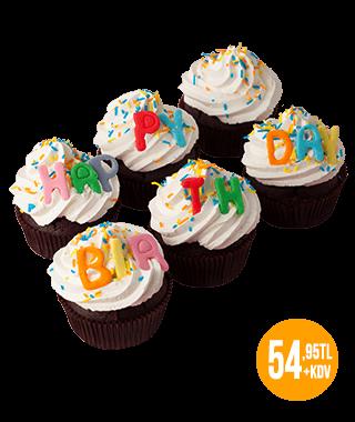 Doğum Günü 6'lı Cupcake Kutusu