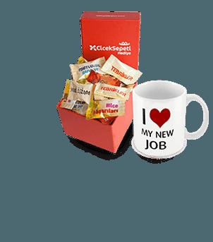 Yeni Iş Tebrik Mesajlı Şeker Kutusu ve Kupa