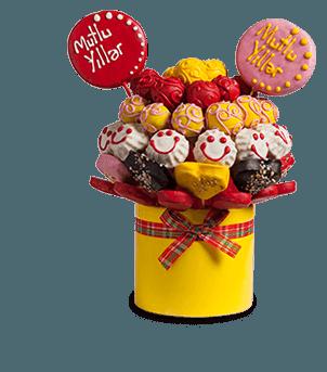 Neşeli Doğum Günü Kek ve Kurabiye Buketi