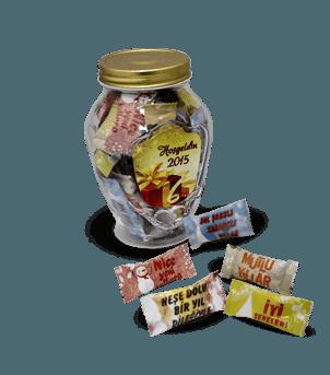Yeni Yıl Mesajlı Şeker Kavanozu